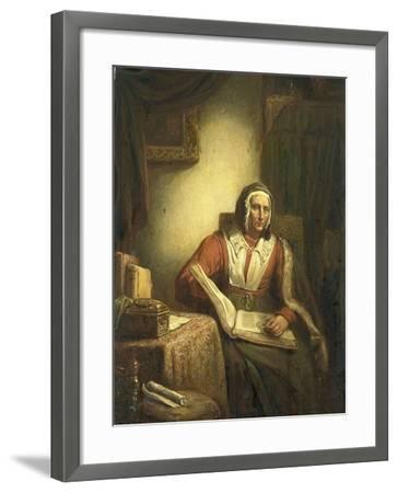 Old Woman Reading-George Gillis Haanen-Framed Art Print