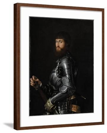 Portrait of a Nobleman in Armor- Giambattista Moroni & Lorenzo Lotto-Framed Art Print