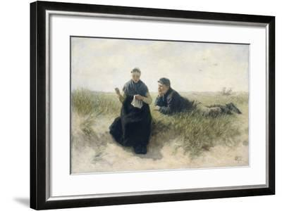 Boy and Girl in the Dunes-David Adolph Constant Artz-Framed Art Print