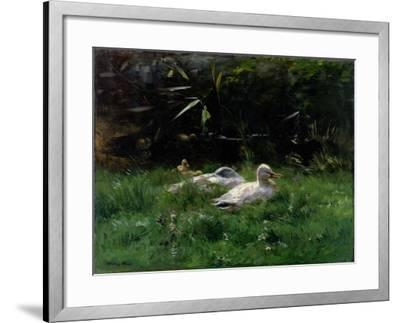 Two Ducks and a Few Chickens in the Grass Near the Waterfront-Willem Maris-Framed Art Print