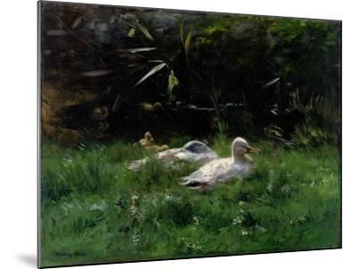 Two Ducks and a Few Chickens in the Grass Near the Waterfront-Willem Maris-Mounted Art Print