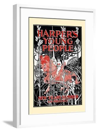 Harper's Young People, New Year's Number-Will Bradley-Framed Art Print