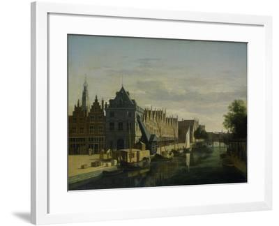 View the Waag at the Spaarne in Haarlem-Gerrit Adriaensz Berckheyde-Framed Art Print