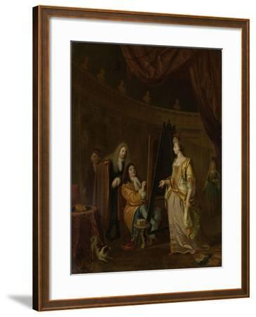 An Artist in His Studio, Painting the Portrait of a Lady, Ludolf Bakhuysen.-Ludolf Bakhuysen-Framed Art Print