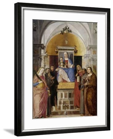 Virgin and Child with Saints-Marcello Fogolino-Framed Art Print