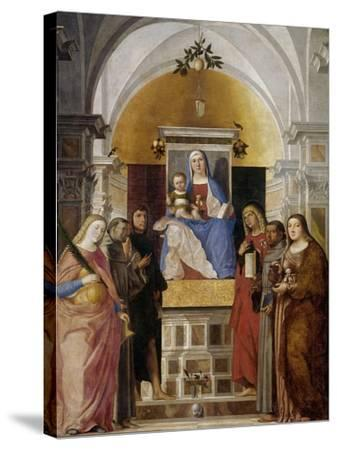 Virgin and Child with Saints-Marcello Fogolino-Stretched Canvas Print