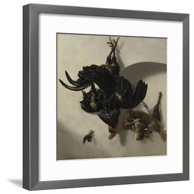 Still Life with Black Rooster and Two Rabbits-Cornelis Lelienbergh-Framed Art Print