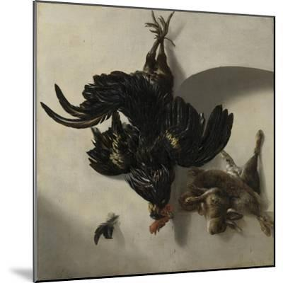 Still Life with Black Rooster and Two Rabbits-Cornelis Lelienbergh-Mounted Art Print