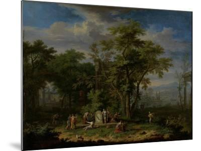 Arcadian Landscape with a Ceremonial Sacrifice-Jan van Huysum-Mounted Art Print