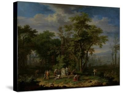 Arcadian Landscape with a Ceremonial Sacrifice-Jan van Huysum-Stretched Canvas Print