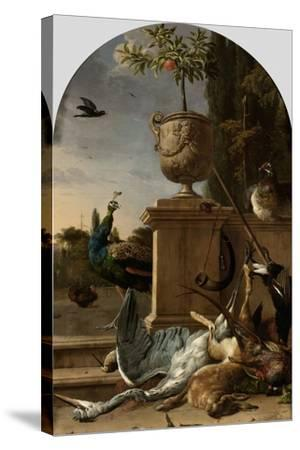 A Hunters Bag on a Terrace-Melchior d'Hondecoeter-Stretched Canvas Print