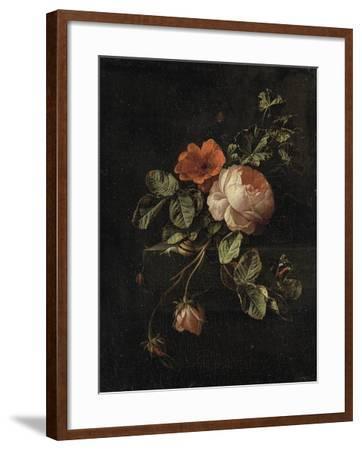 Still Life with Roses-Elias Van Den Broeck-Framed Art Print
