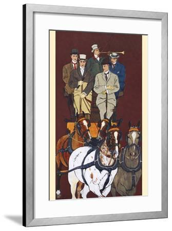 Five Men Riding in a Carriage Drawn by Four Horses-Edward Penfield-Framed Art Print