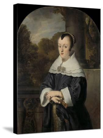 Maria Rey. Wife of Roelof Meulenaer-Ferdinand Bol-Stretched Canvas Print