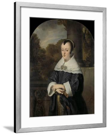 Maria Rey. Wife of Roelof Meulenaer-Ferdinand Bol-Framed Art Print