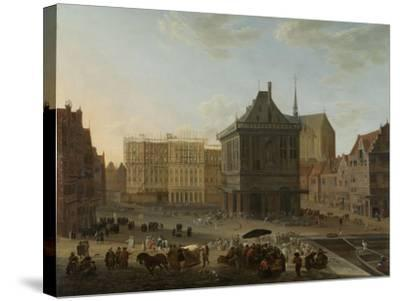 Dam in Amsterdam with the New Town Hall under Construction-Jacob van der Ulft-Stretched Canvas Print