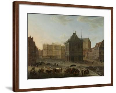 Dam in Amsterdam with the New Town Hall under Construction-Jacob van der Ulft-Framed Art Print
