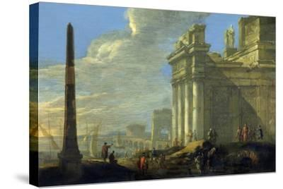 Italian Harbor View-Jacob van der Ulft-Stretched Canvas Print