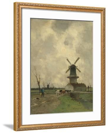 A Mill and Some Houses in a Canal, a Farmer with a Yoke on the Shoulders Drives Some Cows-Johan Hendrik Weissenbruch-Framed Art Print
