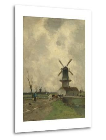 A Mill and Some Houses in a Canal, a Farmer with a Yoke on the Shoulders Drives Some Cows-Johan Hendrik Weissenbruch-Metal Print