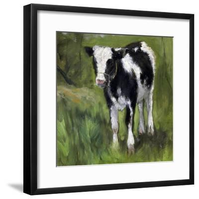 A Black and White Spotted Calf, Standing in a Meadow-Geo Poggenbeek-Framed Art Print