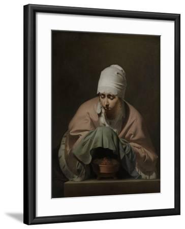 Young Woman Warming Her Hands over a Brazier-Caesar Boetius van Everdingen-Framed Art Print