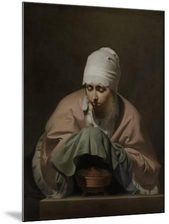 Young Woman Warming Her Hands over a Brazier-Caesar Boetius van Everdingen-Mounted Art Print
