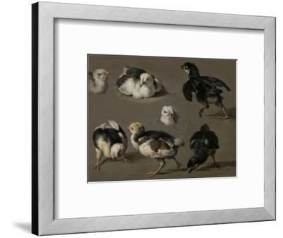 Seven Chicks-Melchior d'Hondecoeter-Framed Art Print