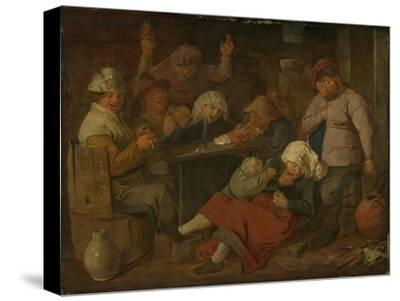 Peasant Drinking About-Adriaen Brouwer-Stretched Canvas Print