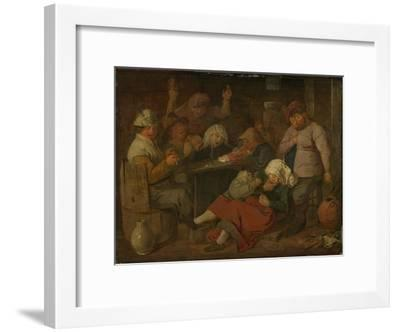 Peasant Drinking About-Adriaen Brouwer-Framed Art Print