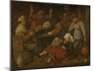 Peasant Drinking About-Adriaen Brouwer-Mounted Art Print
