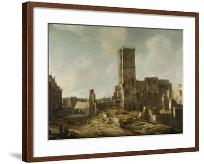Ruins of the Old Town Hall of Amsterdam after the Fire of 7 July-Jan Abrahamsz. Beerstraten-Framed Art Print