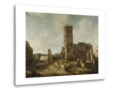 Ruins of the Old Town Hall of Amsterdam after the Fire of 7 July-Jan Abrahamsz. Beerstraten-Metal Print