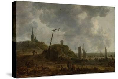 Beach at Katwijk, Many People Move Between the Fishing Boats-Adriaen van der Kabel-Stretched Canvas Print