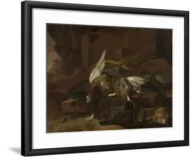 On a Stone Plinth are a Duck and a Partridge Hunting Gear-Melchior d'Hondecoeter-Framed Art Print