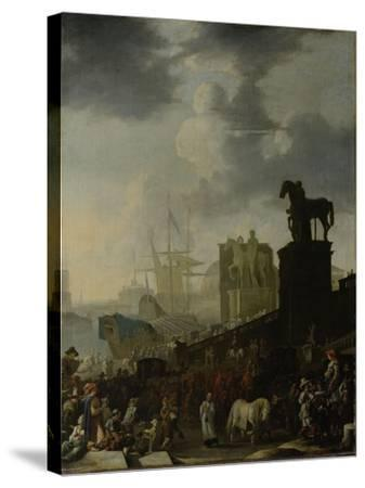 Entrance to the Capitol with the White Horse of the Newly Elected Pope-Johannes Lingelbach-Stretched Canvas Print