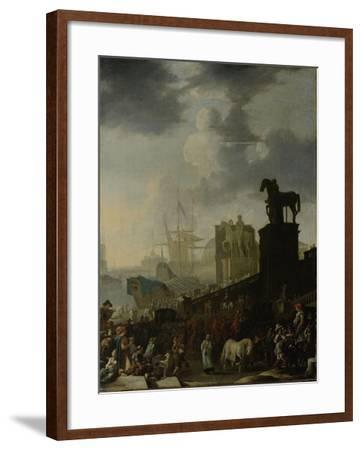 Entrance to the Capitol with the White Horse of the Newly Elected Pope-Johannes Lingelbach-Framed Art Print