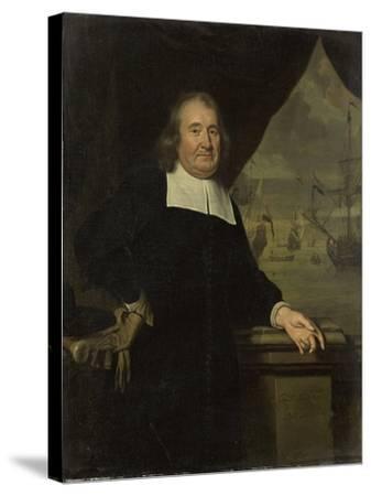 Portrait of a Captain or Ship-Owner-Michiel Van Musscher-Stretched Canvas Print