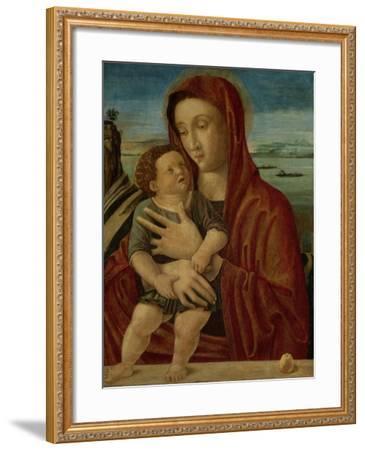 Madonna and Child, Circle of Giovanni Bellini-Giovanni Bellini-Framed Art Print