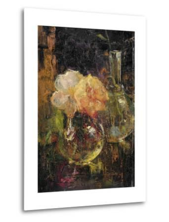 Bouquet of Yellow Roses in a Decanter, Behind a Bottle-Menso Kamerlingh Onnes-Metal Print