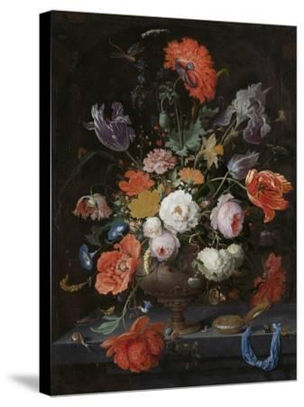 Still Life with Flowers and a Watch-Abraham Mignon-Stretched Canvas Print