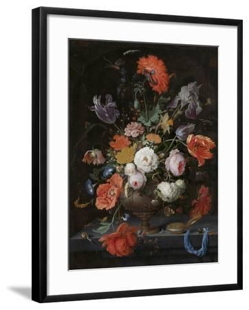 Still Life with Flowers and a Watch-Abraham Mignon-Framed Art Print