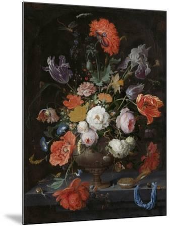 Still Life with Flowers and a Watch-Abraham Mignon-Mounted Art Print