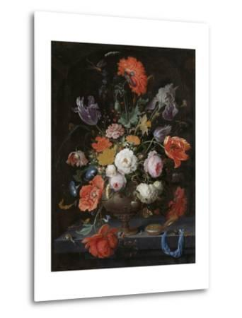 Still Life with Flowers and a Watch-Abraham Mignon-Metal Print