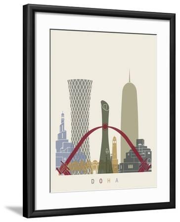 Doha Skyline Poster-paulrommer-Framed Art Print