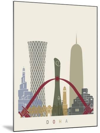 Doha Skyline Poster-paulrommer-Mounted Art Print