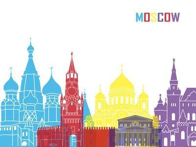 Moscow Skyline Pop-paulrommer-Stretched Canvas Print