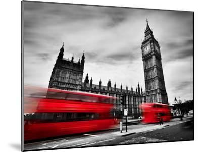 London, the Uk. Red Buses in Motion and Big Ben, the Palace of Westminster. the Icons of England In-Michal Bednarek-Mounted Photographic Print