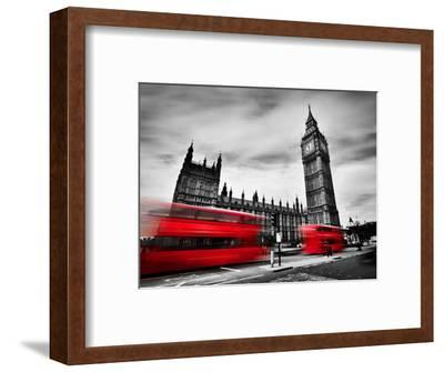 London, the Uk. Red Buses in Motion and Big Ben, the Palace of Westminster. the Icons of England In-Michal Bednarek-Framed Photographic Print
