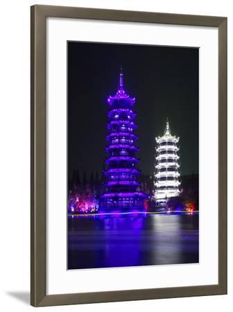China 10MKm2 Collection - Sun & Moon Twin Pagodas-Philippe Hugonnard-Framed Photographic Print